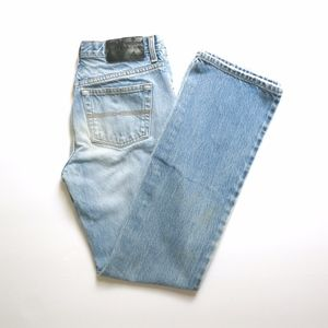 Express | Low Rise Boot Cut Distressed Jeans